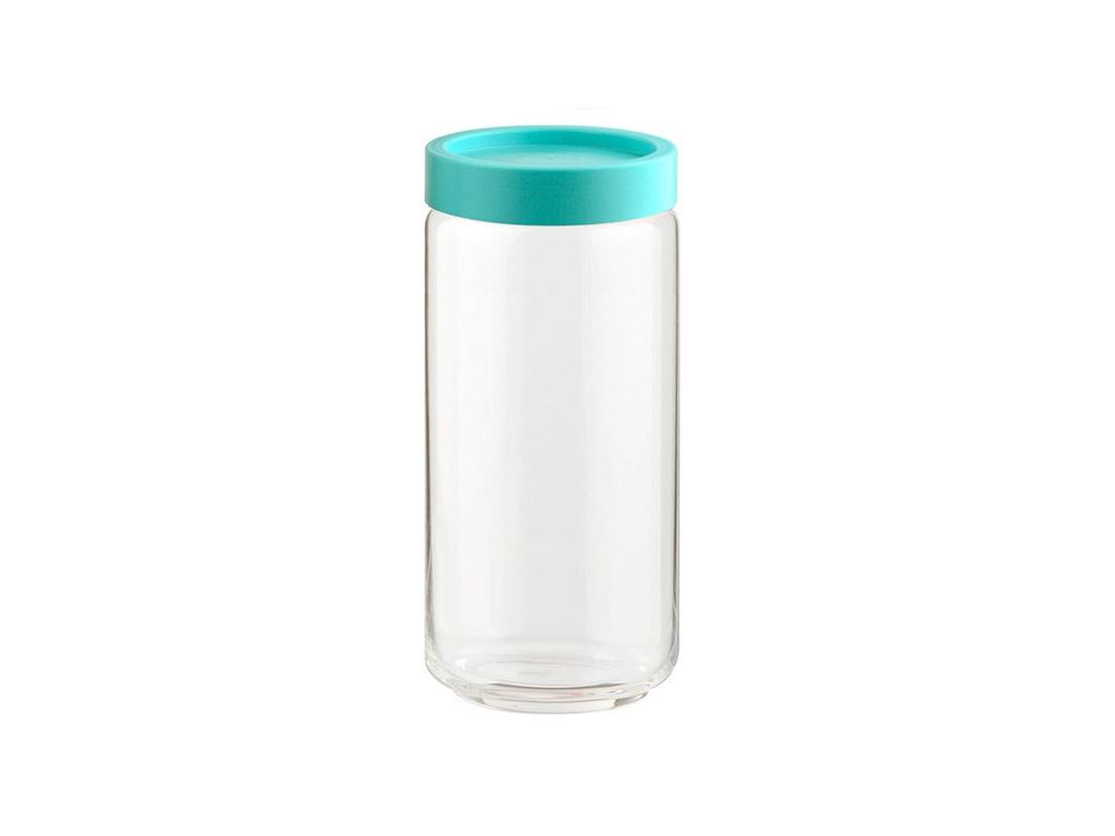 Γυάλινο Βάζο Αποθήκευσης με Πλαστικό Καπάκι Ασφαλείας σε Τιρκουάζ χρώμα Ιδανικό  κουζίνα   κουτιά κουζίνας και ψωμιέρες