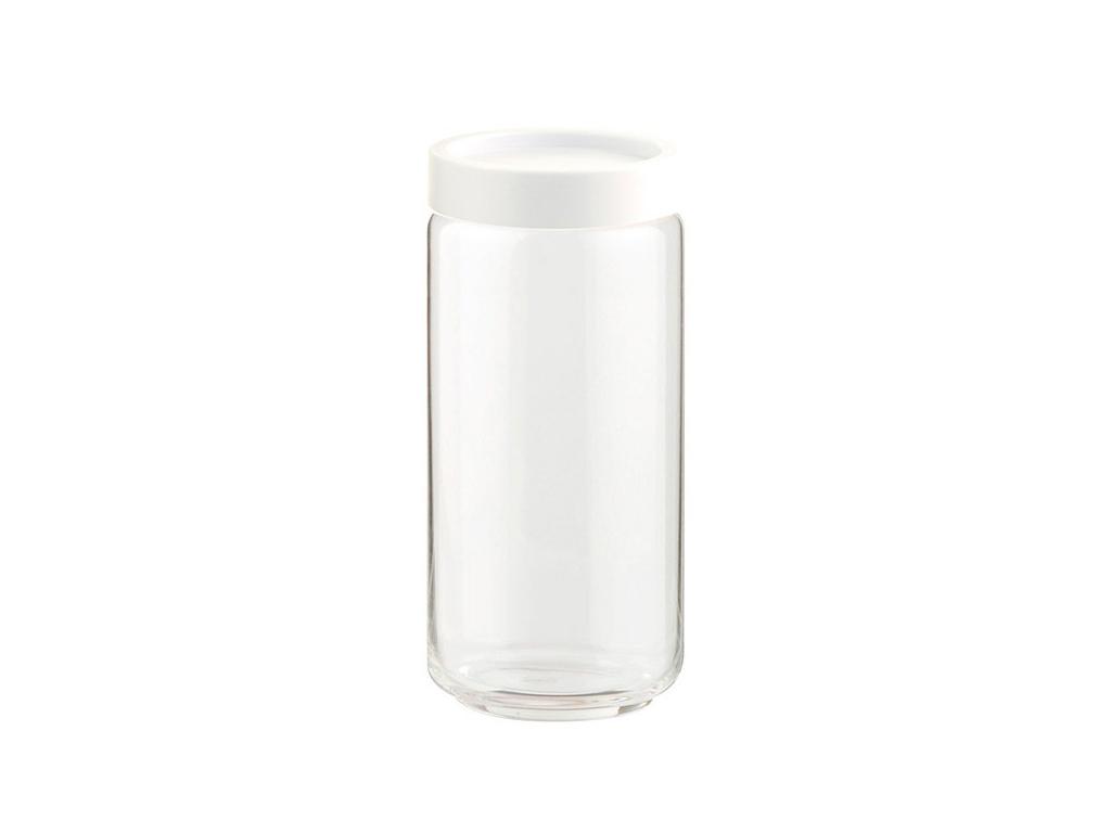 Γυάλινο Βάζο Αποθήκευσης με Πλαστικό Καπάκι Ασφαλείας σε Λευκό χρώμα Ιδανικό για κουζίνα   κουτιά κουζίνας και ψωμιέρες