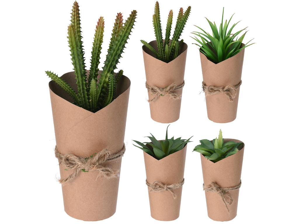 Διακοσμητική Γλάστρα με Πλαστικό Φυτό σε Trendy Σχέδιο με χαρτί και σχοινί σε κα διακόσμηση και φωτισμός   διακόσμηση τραπεζίου και ανθοδοχεία