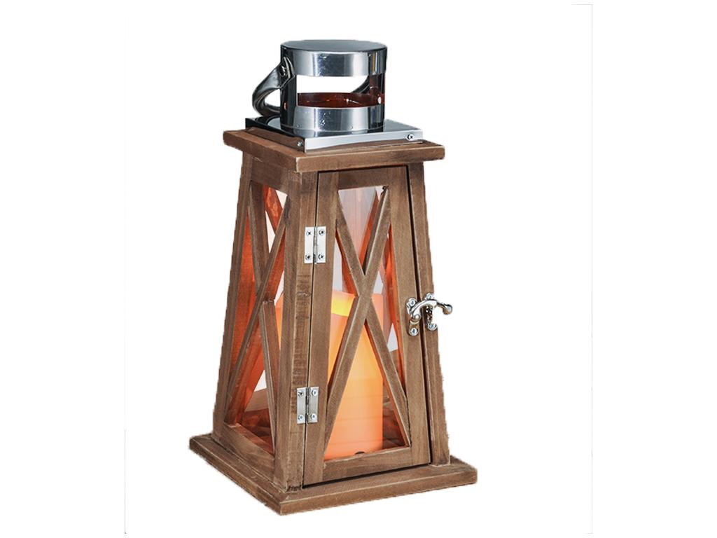 Διακοσμητικό Ξύλινο Φαναράκι 15x15x33cm για Εσωτερικούς και Εξωτερικούς Χώρους χ διακόσμηση και φωτισμός   λάμπες σπιτιού   γραφείου