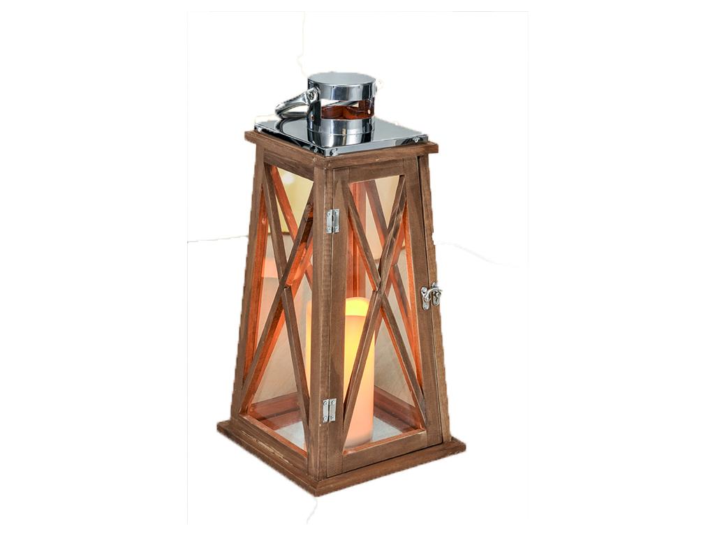 Διακοσμητικό Ξύλινο Φαναράκι 20x20x41cm για Εσωτερικούς και Εξωτερικούς Χώρους χ διακόσμηση και φωτισμός   λάμπες σπιτιού   γραφείου