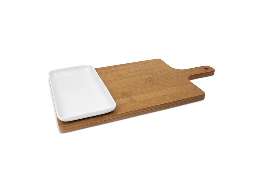 Ξύλο Κοπής Τροφίμων από Bamboo με συνοδευτικό πιάτο από πορσελάνη, ξύλινη λαβή, Luigi Ferrero,FR-1REB - Luigi Ferrero