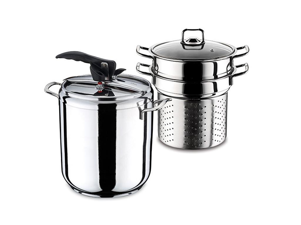 Σετ Μαγειρικά Σκεύη 2 τεμαχίων Χύτρα 9L και Κατσαρόλα Ζυμαρικών από Ανοξείδωτο Ατσάλι με Γυάλινο Καπάκι κατάλληλο για όλες τις εστίες μαγειρέματος, Hascevher 651682 - Hascevher