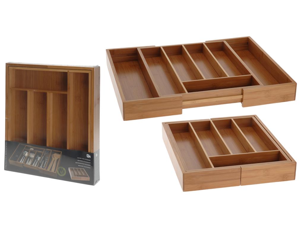 Επεκτεινόμενη Θήκη για Μαχαιροπίρουνα από ξύλο Bamboo, 5x33.5x28-45cm, Bamboo Excellent Houseware 784200280 - Excellent Houseware