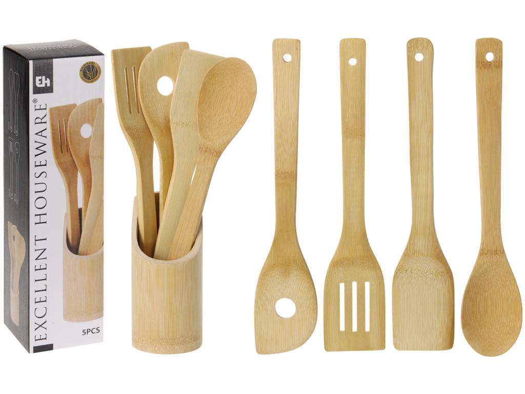 Μπαμπού Σετ Ξύλινα Εργαλεία Κουζίνας 5 τεμάχια με Βάση Αποθήκευσης, Bamboo Excel αξεσουάρ και εργαλεία κουζίνας   κουτάλες   σπάτουλες   πιρούνες
