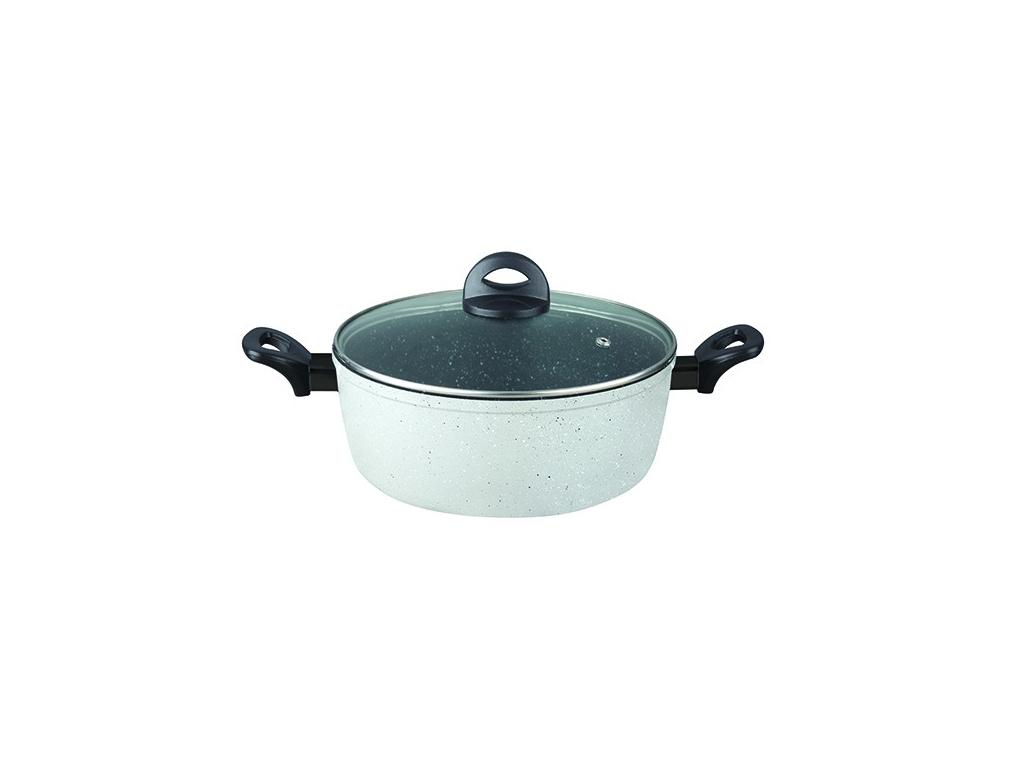 Αντικολλητική Κατσαρόλα 24cm από χυτό αλουμίνιο με Μαρμάρινη Επίστρωση και γυάλινο καπάκι με μη θερμενόμενες λαβές σε Γκρι χρώμα, Parma Series,