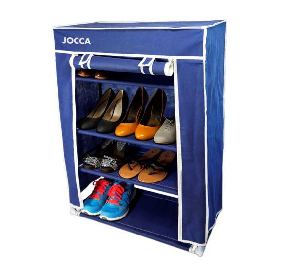 Υφασμάτινη Παπουτσοθήκη με 4 Ράφια για 12 ζευγάρια παπούτσια σε μπλε χρώμα, 80x6 έπιπλα   παπουτσοθήκες