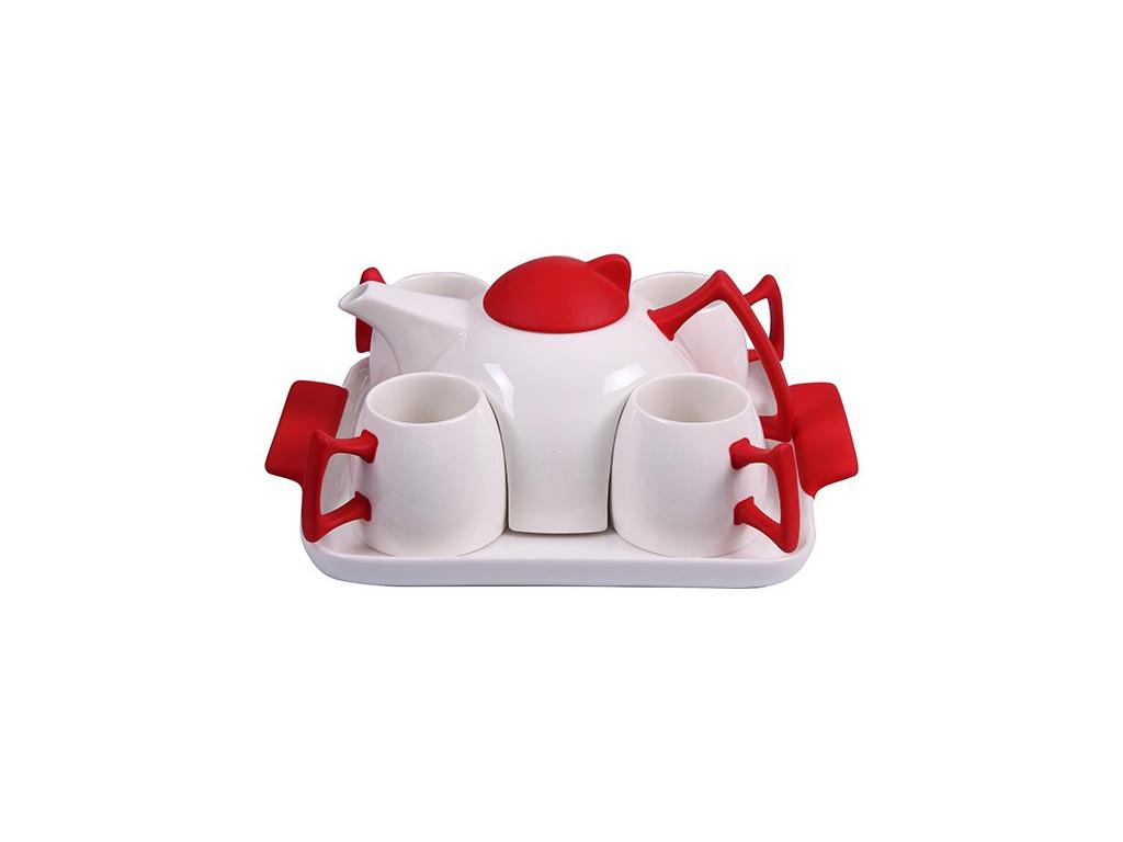 Σετ Τσαγιέρα Καφετιέρα Σερβιρίσματος με 4 φλυτζάνια κούπες και δίσκος σερβιρίσματος από Πορσελάνη σε Λευκό και Κόκκινο χρώμα, EKO FP44438 - EKO