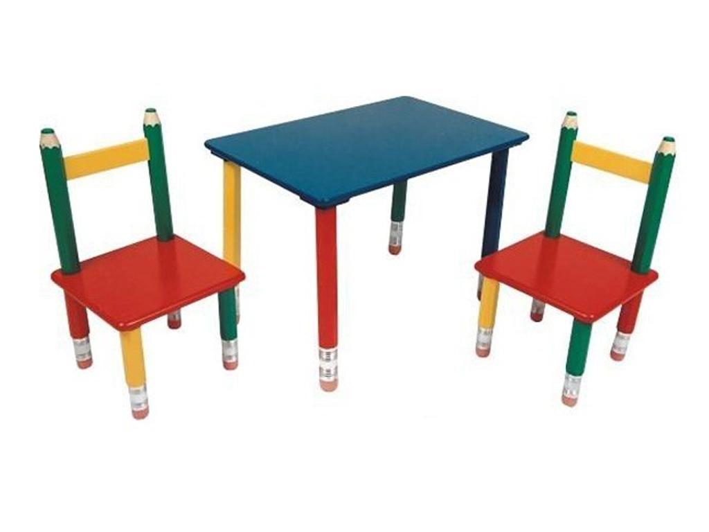 Παιδικό Σετ ξύλινο Τραπεζάκι με 2 Καρέκλες και πόδια Ξυλομπογιές διαστάσεων 60x39x42cm, 303990 - Cb