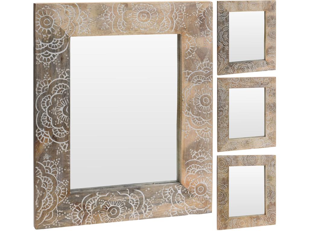 Διακοσμητικός Καθρέφτης τετράγωνος από Φυσικό ξύλο με Σκαλιστή Λεπτομέρεια στο Πλαίσιο, 40x50cm, A44310160 - Cb