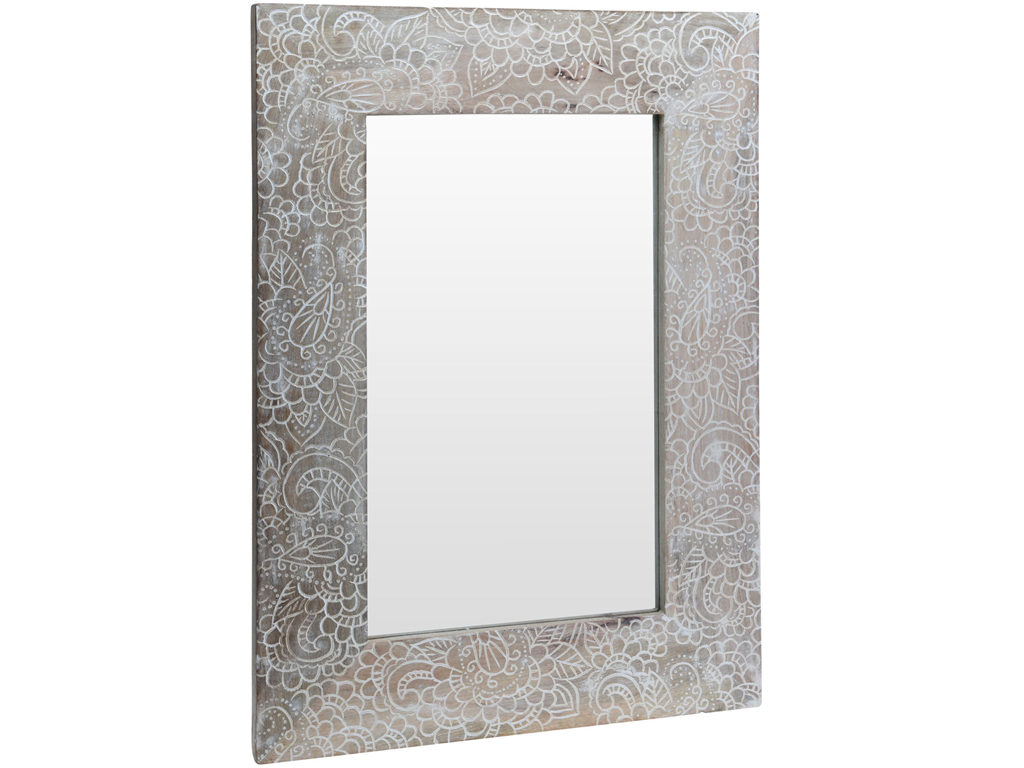 Διακοσμητικός Καθρέφτης τετράγωνος από Φυσικό ξύλο με Σκαλιστή Λεπτομέρεια στο Πλαίσιο, 50x70cm, A44310170 Γιρλάντα - Cb