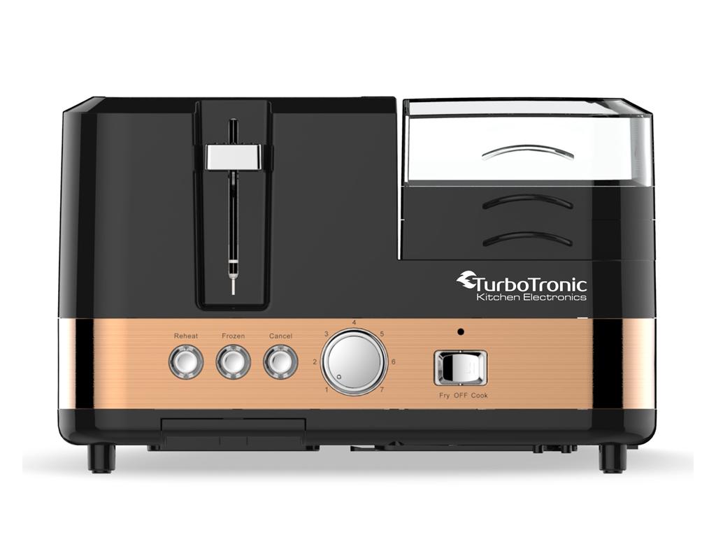 Κουζινομηχανή Παρασκευής Πρωινού για Φρυγάνισμα Ψωμιού, Βράσιμο Αυγών και άλλες Λειτουργίες από Ανοξείδωτο Ατσάλι, Turbotronic TT-BL5 Breakfast Station Μαύρο/Χρυσό - TurboTronic