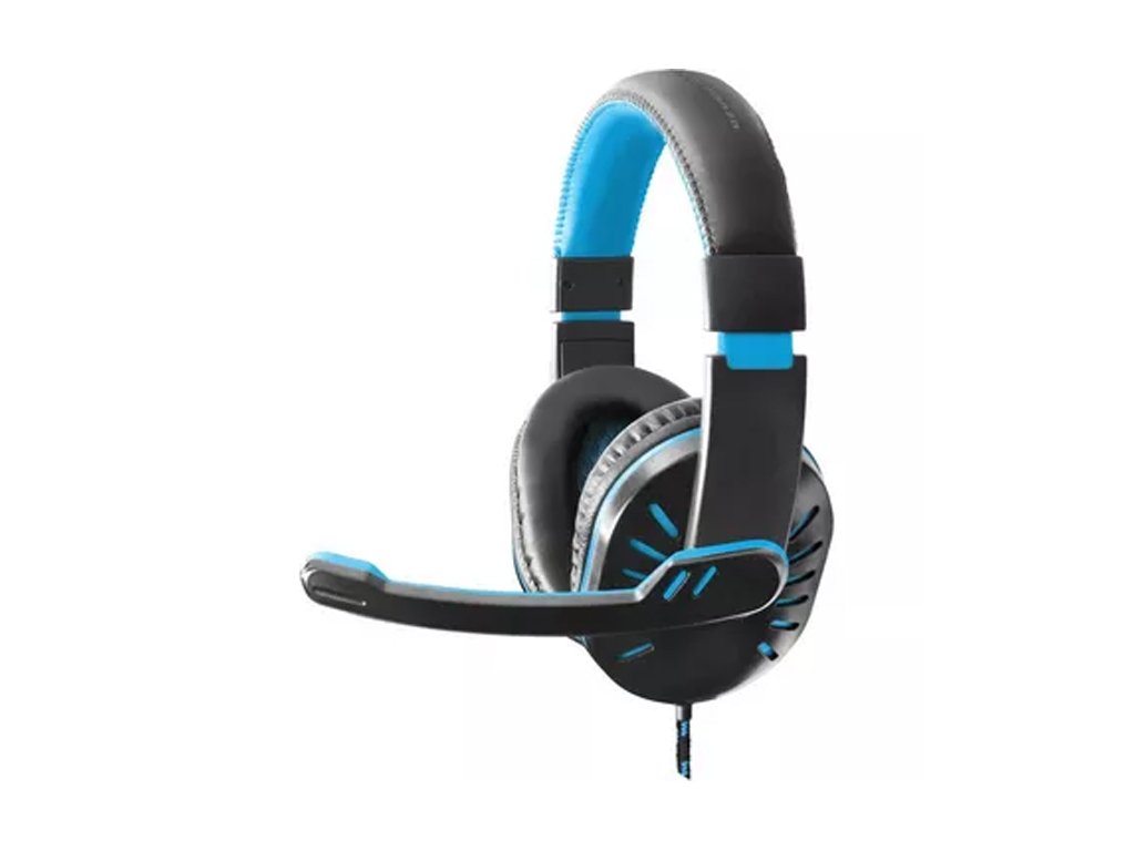Ακουστικά με Μικρόφωνο για Ατελείωτες ώρες gaming σε Μαύρο χρώμα με Γαλάζιες λεπ παιχνίδια   παιχνιδοκονσόλες και αξεσουάρ gaming