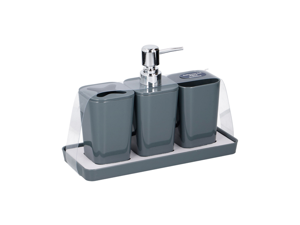 Σετ Αξεσουάρ Μπάνιου 4 τεμαχίων με Dispenser Σαπουνιού Κρεμοσάπουνο και 2 Δοχεία μπάνιο   αξεσουάρ μπάνιου