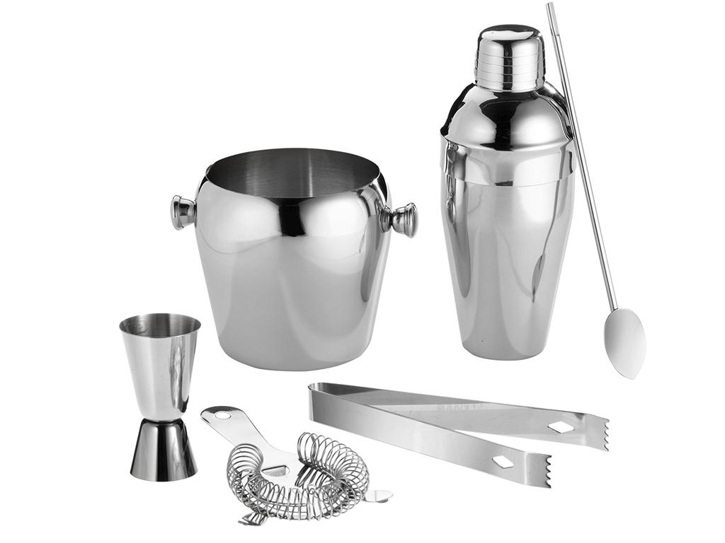 Σετ Παρασκευής και Σερβιρίσματος Κοκτέιλ 6 τεμαχίων από Ανοξείδωτο ατσάλι, Cockt αξεσουάρ και εργαλεία κουζίνας   άλλα αξεσουάρ κουζίνας