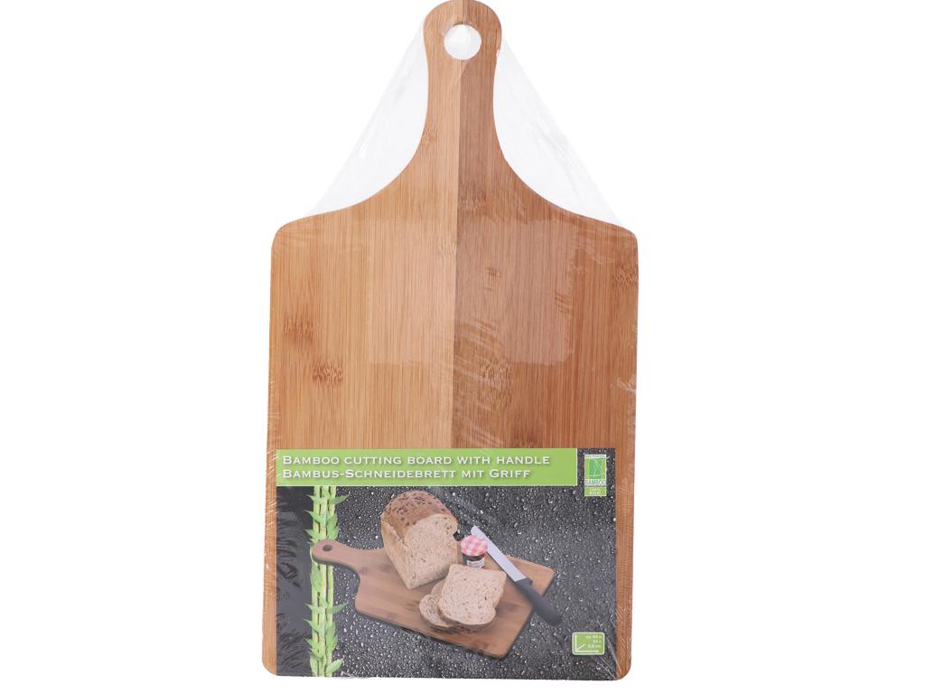 Ξύλινη Βάση Κοπής Bamboo για Τυριά, Αλλαντικά, Φρούτα και Λαχανικά με Λαβή για Καλύτερη Αποθήκευση, 44x24x0.8cm, Cb 51289 - Cb