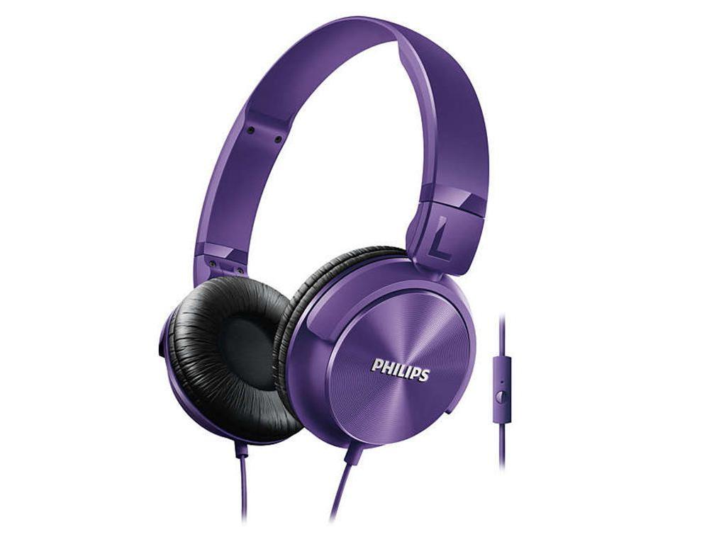 Philips Αναδιπλούμενα Στερεοφωνικά Ακουστικά με Μικρόφωνο 106 dB σε Μωβ χρώμα, S τηλεφωνία και tablets   ακουστικά με μικρόφωνο