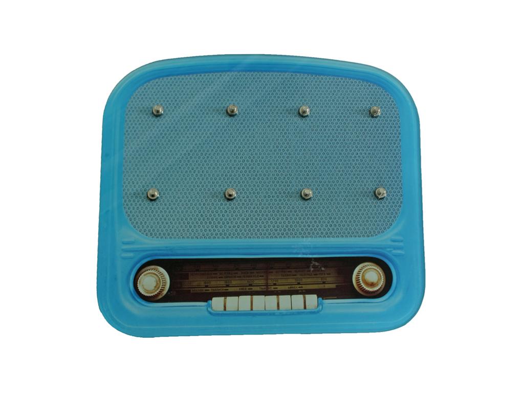 Vintage Γυάλινη Κλειδοθήκη σε σχήμα Ραδιοφώνου με 8 γάντζους, 30x26x0.3cm, Key board Vintage Radio 321037 Μπλε - Cb