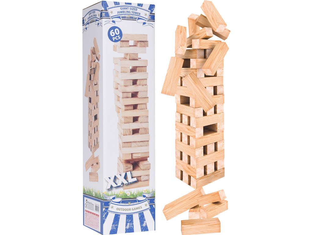 Επιτραπέζιο Ξύλινο Παιχνίδι Πύργος XXL 60 Τουβλάκια, Jumbling Tower S28100110 -  παιχνίδια   επιτραπέζια παιχνίδια