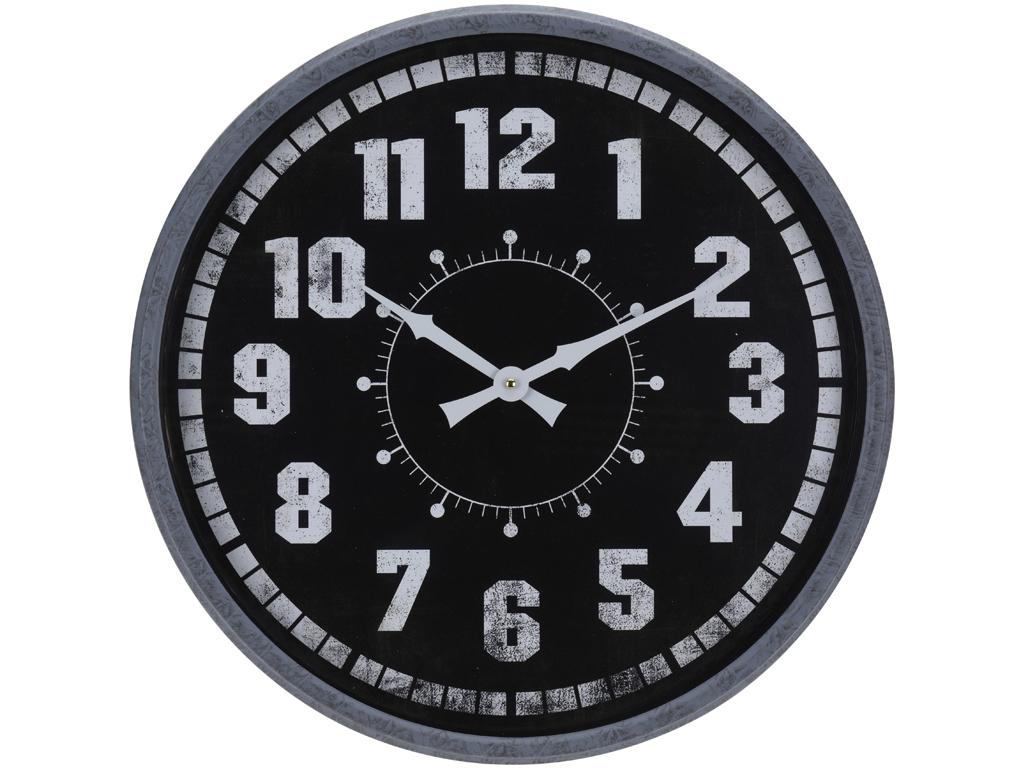 Αναλογικό Vintage Ρολόι Τοίχου ΓΙΓΑΣ 51CM με Μαύρη Κάσα, Λευκούς Δείκτες και Λευκές Ενδείξεις, Y36200280 - Cb