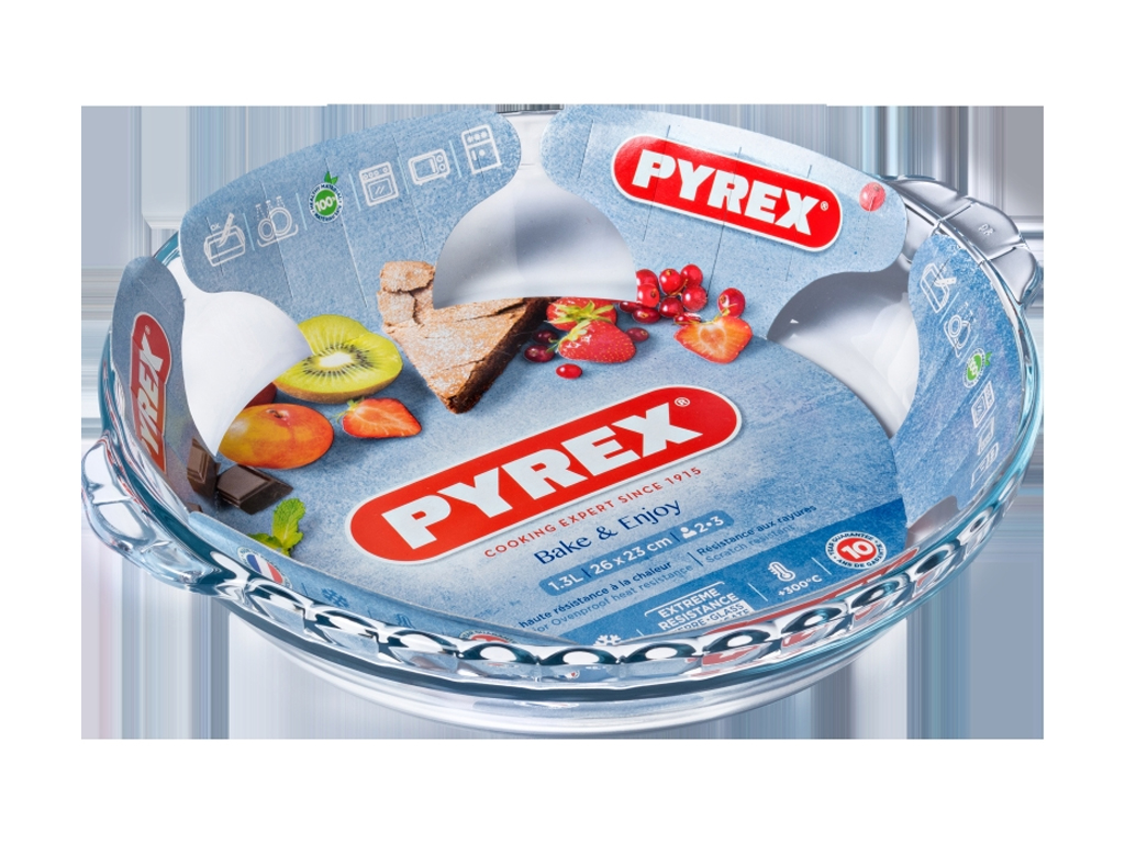 PYREX Γυάλινο Πυρέξ οβάλ με λαβές, 1.3L, 26x23x5cm, Bake & Enjoy 14682 - PYREX