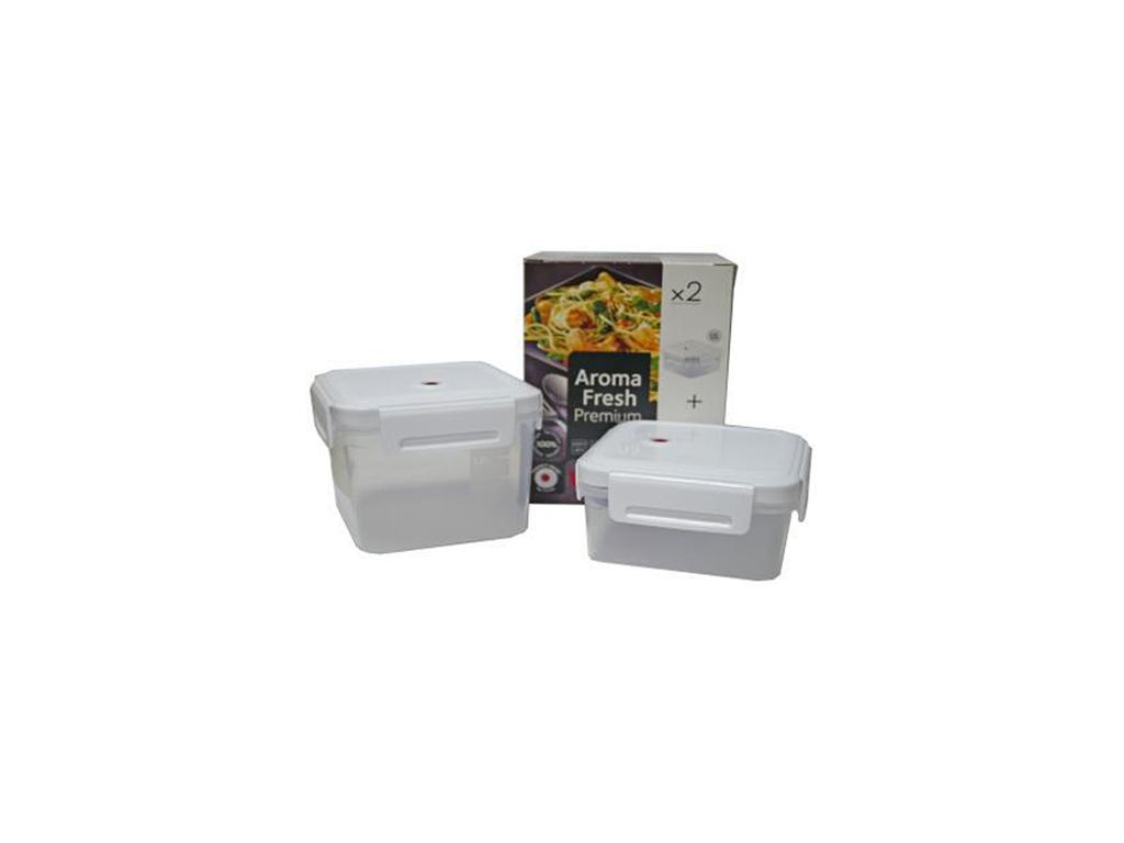 Curver Σετ Τάπερ 2 τεμαχίων Δοχεία φαγητού Φαγητοδοχεία 1.1L + 1.7L από Πλαστικό BPA free Κατάλληλο για Φούρνο Μικροκυμάτων έως 100°C, Aroma Fresh Premium 15279 - Curver