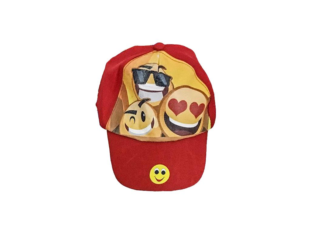 Καπέλο Παιδικό Τζόκευ Jockey με σχέδιο Χαμόγελο Emoticon Emoji σε 3 Χρώματα, 42-845 Κόκκινο - Cb