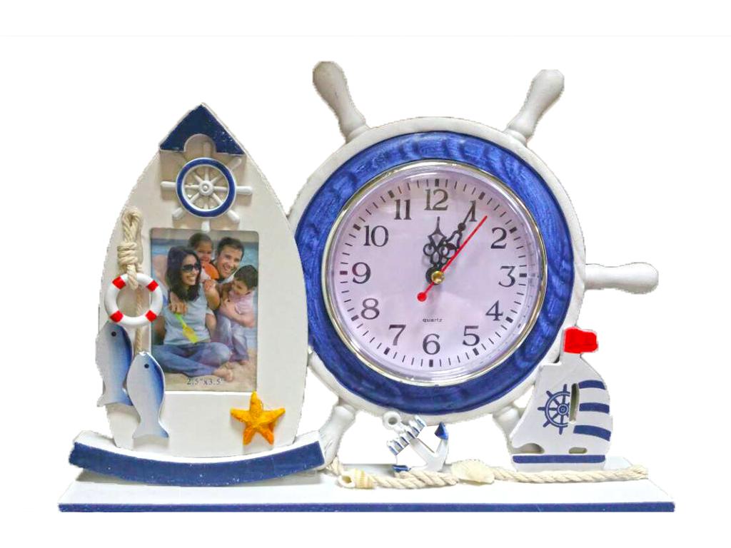 Διακοσμητικό Συνδυασμός Κορνίζας σε σχήμα Βάρκας με Ρολόι σε σχήμα Ναυτικού πηδάλιου σε Λευκό/Μπλε χρώμα - Cb