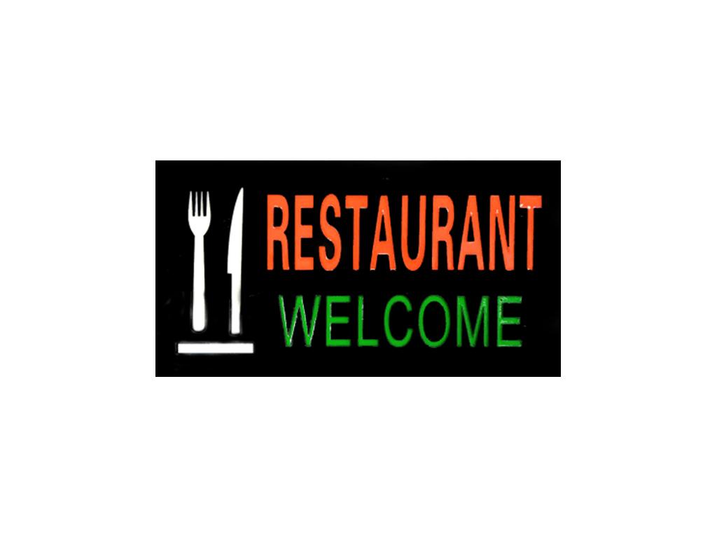 """Φωτιζόμενη Πινακίδα Επιγραφή LED με θέμα """"Restaurant Welcome"""", 43.3x23.3x3.5cm - διακόσμηση και φωτισμός   διακοσμητικά τοίχου"""