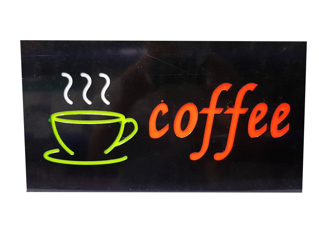 """Φωτιζόμενη Πινακίδα Επιγραφή LED με θέμα """"coffee"""", 43.3x23.3x3.5cm - Cb διακόσμηση και φωτισμός   διακοσμητικά τοίχου"""