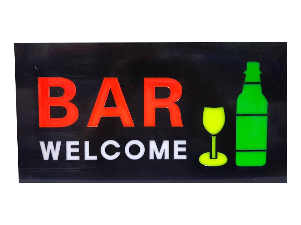 """Φωτιζόμενη Πινακίδα Επιγραφή LED με θέμα """"BAR WELCOME"""", 43.3x23.3x3.5cm - Cb διακόσμηση και φωτισμός   διακοσμητικά τοίχου"""