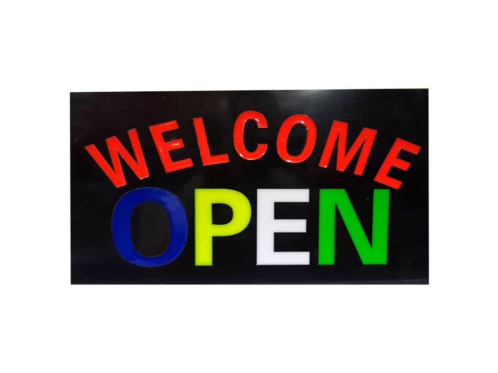 """Φωτιζόμενη Πινακίδα Επιγραφή LED με θέμα """"WELCOME OPEN"""", 43.3x23.3x3.5cm - Cb διακόσμηση και φωτισμός   διακοσμητικά τοίχου"""