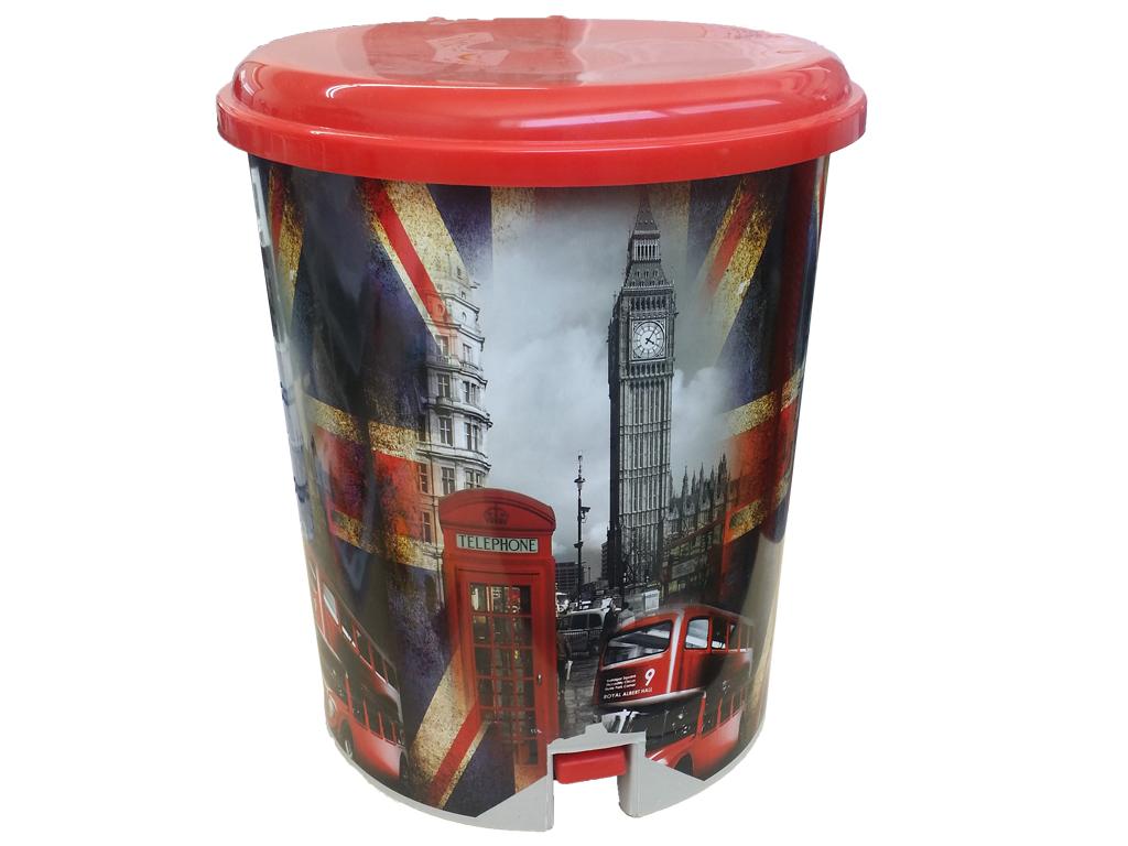 Κάδος Απορριμάτων με πεντάλ και αφαιρούμενο δοχείο με Θέμα Λονδίνο, 28x33cm, Tup κουζίνα   κάδοι απορριμμάτων κουζίνας