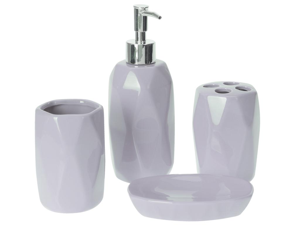 Σετ Μπάνιου 4 τεμαχίων, με 1 σαπουνοθήκη, 1 Dispenser Σαπουνιού, 1 ποτήρι και 1  μπάνιο   αξεσουάρ μπάνιου