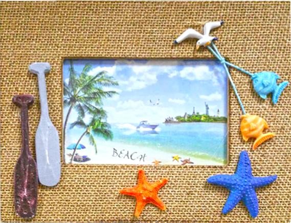 Διακοσμητική Οριζόντια Κορνίζα με θέμα Παραλία σε ορθογώνιο σχήμα με περίγραμμα από Λινάρι - Cb