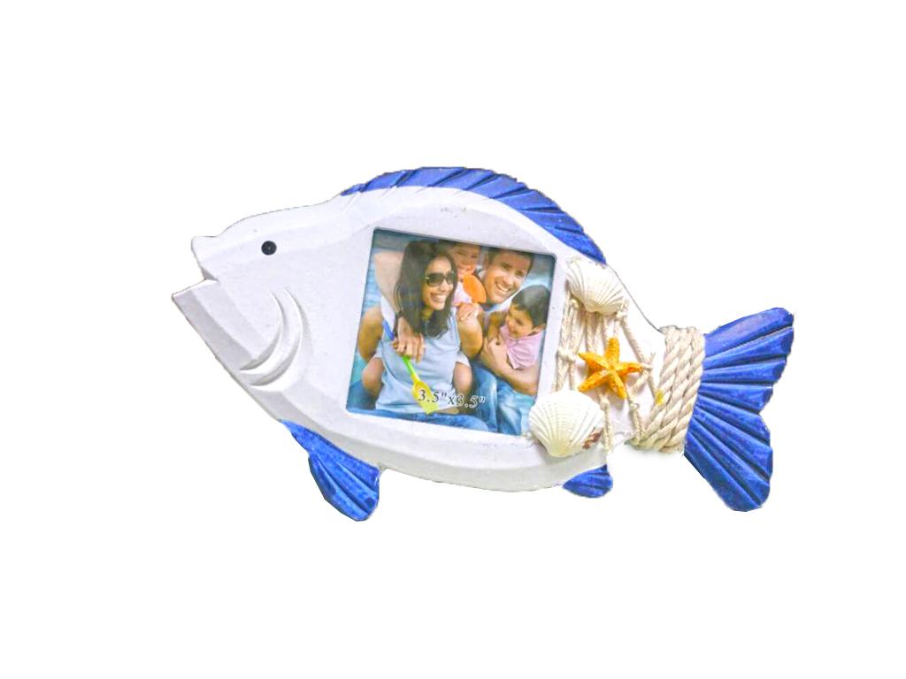Διακοσμητική Κορνίζα σε σχήμα Ψάρι με ανάγλυφα Κοχύλια σε Λευκό/Μπλε χρώμα - Cb