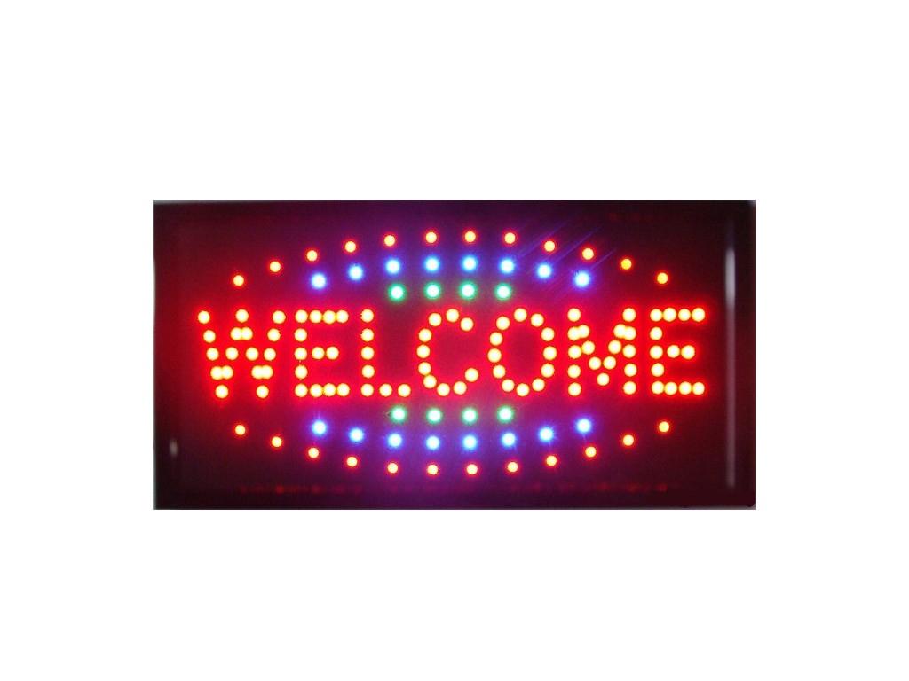 """Φωτιζόμενη πινακίδα Επιγραφή LED με κίνηση """"Welcome"""", 26x50x2cm - Cb διακόσμηση και φωτισμός   διακοσμητικά τοίχου"""