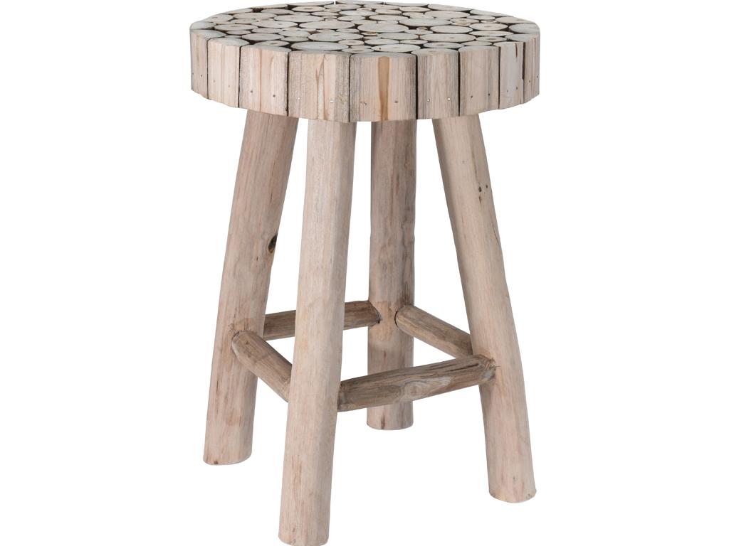 Διακοσμητικό Ξύλινο Σκαμνί Σκαμπό από Τικ με 4 πόδια σε φυσικό χρώμα, 30x42cm, Teak J11300820 - Cb