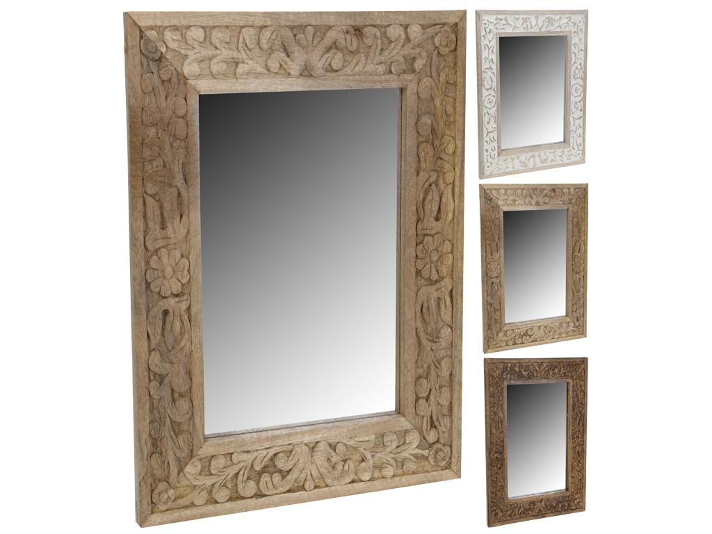 Διακοσμητικός Καθρέφτης τετράγωνος από Φυσικό ξύλο με Σκαλιστή Λεπτομέρεια στο Πλαίσιο, 50x70cm, A44300890 - Cb
