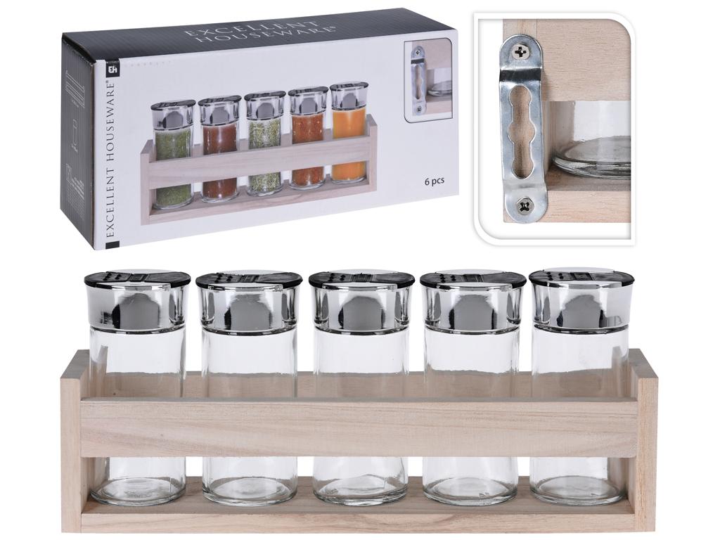 Σετ Γυάλινα Βαζάκια Μπαχαρικών 6 τεμάχια με Καπάκια σε Ξύλινη Βάση που Κρεμιέται αξεσουάρ και εργαλεία κουζίνας   βαζάκια και θήκες μπαχαρικών