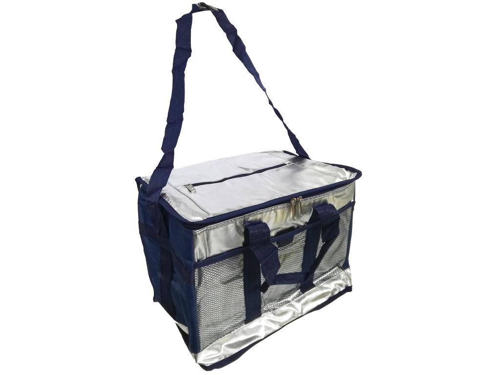 Φορητή Ισοθερμική Τσάντα Ψυγείο από Πολυεστέρα με Ρυθμιζόμενο Λουρί και 3 τσέπες σε ασημί χρώμα με μπλε λεπτομέρειες, 17Lt, 26x28x24cm, Cooler Bag - Aria Trade