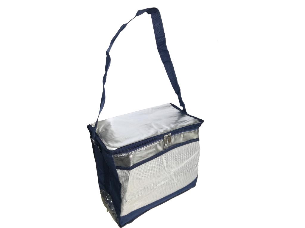 Φορητή Ισοθερμική Τσάντα Ψυγείο από Πολυεστέρα με Ρυθμιζόμενο Λουρί και 2 τσέπες σε ασημί χρώμα με μπλε λεπτομέρειες, 25Lt, 34x37x20cm, Cooler Bag - Cb