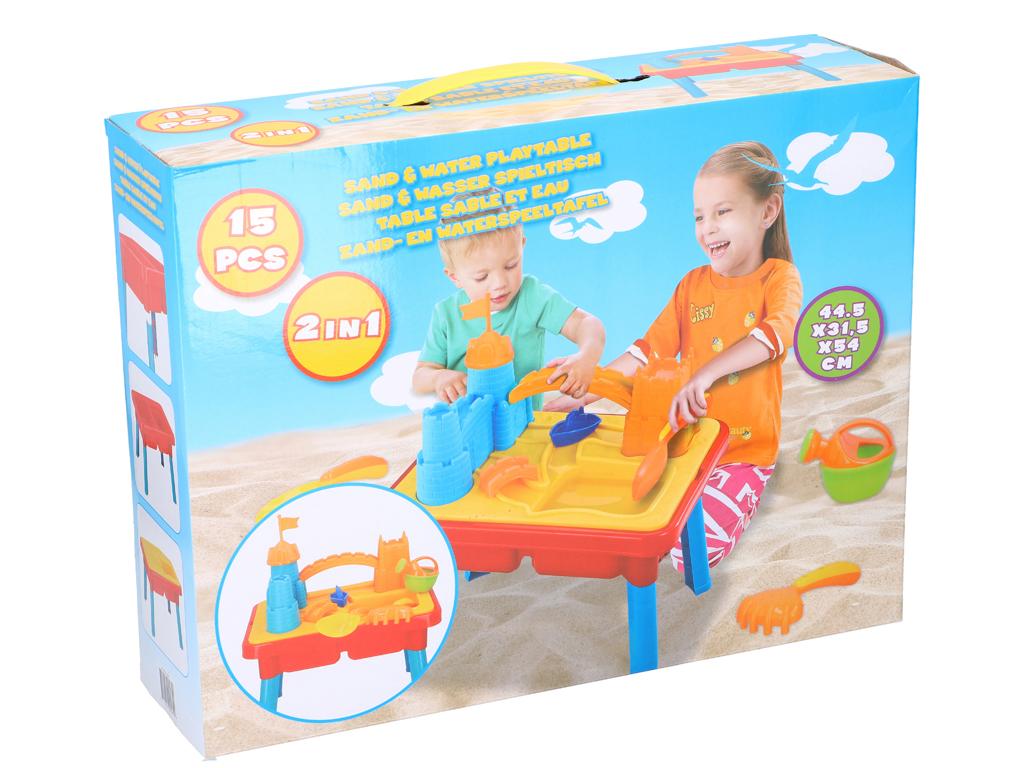 Παιδικό Τραπέζι 2 σε 1 για Άμμο και Νερό 15 τεμαχίων για ατελείωτες ώρες Παιχνιδιού, 44.5x54x31.5cm, Eddy Toys 45610 - Eddy Toys