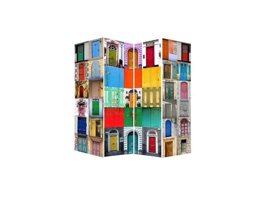 Παραβάν Ξύλινο Διαχωριστικό Χώρου με πολύχρωμες εικόνες, 180x160x2cm, SK12133 - Cb