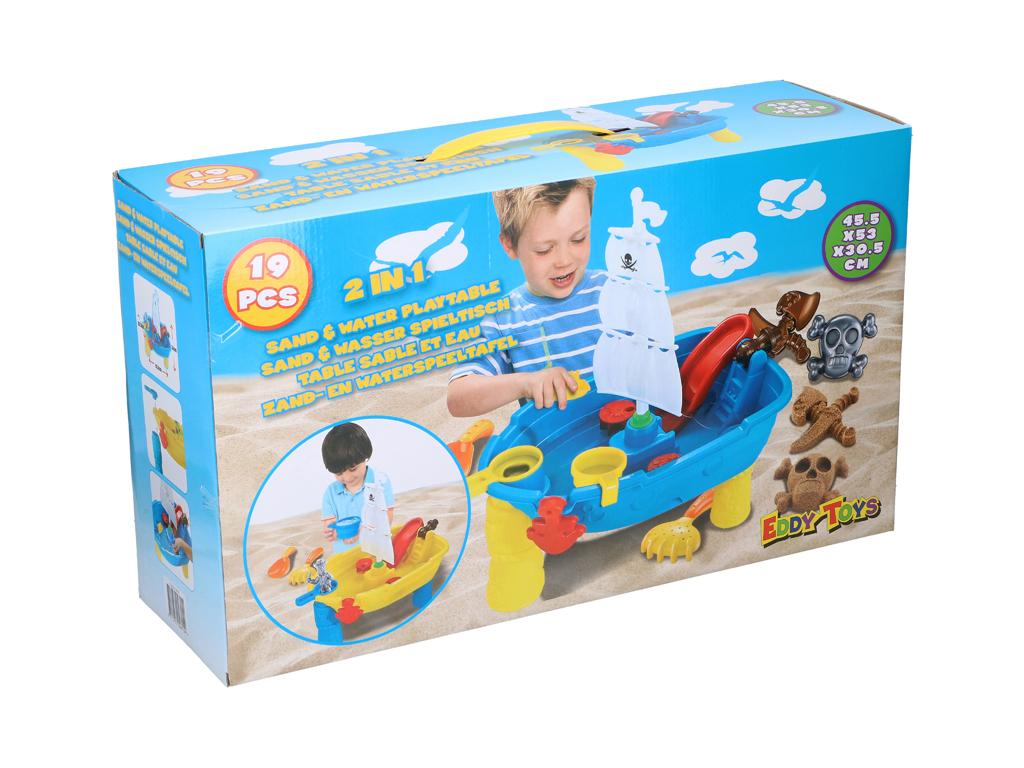 Παιδικό Τραπέζι 2 σε 1 για Άμμο και Νερό 19 τεμαχίων για ατελείωτες ώρες Παιχνιδιού, 45.5x30.5x53cm, Eddy Toys 04815 - Eddy Toys