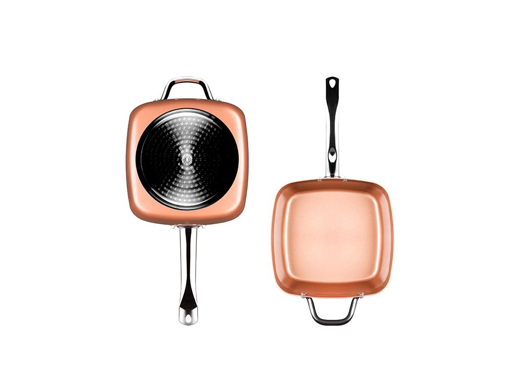 Επαγγελματικό τηγάνι 5 σε 1 Πολλαπλών Χρήσεων με Κεραμική Αντικολλητική επίστρωση και Γυάλινο Καπάκι σε χρώμα Copper, 24x9x24cm, Innovagoods V0100831 - InnovaGoods