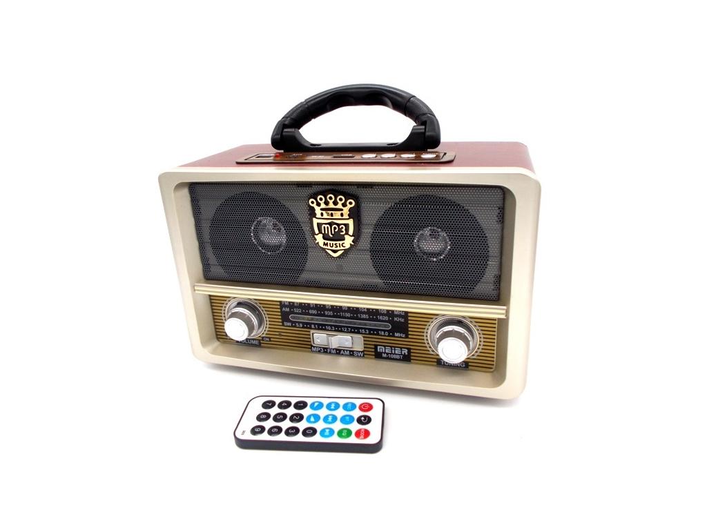 Retro Φορητό Επαναφορτιζόμενο Ραδιόφωνο USB SD Mp3 Player Recorder MEIER M-108BT ήχος   radio cd