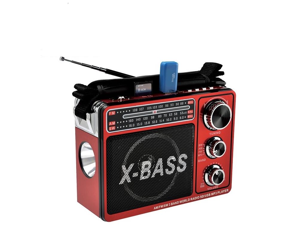 Φορητό επαναφορτιζόμενο Mp3 player/radio με ηχείο και φακό, WAXIBA XB-206URT - W ήχος   bluetooth και μικρά ηχεία