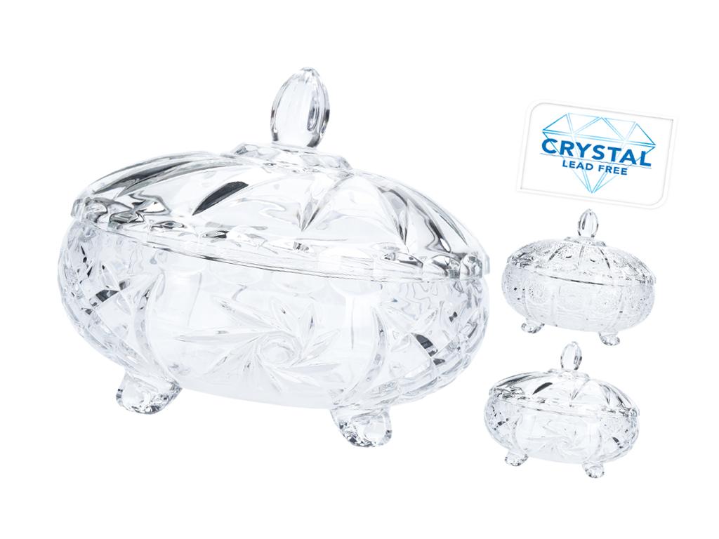 Κρυστάλλινη Φοντανιέρα Σερβιρίσματος με καπάκι σε 2 διαφοετικά μοτίβα, SR2000200 σερβίρισμα   δίσκοι  πιατέλες και ορντεβιέρες