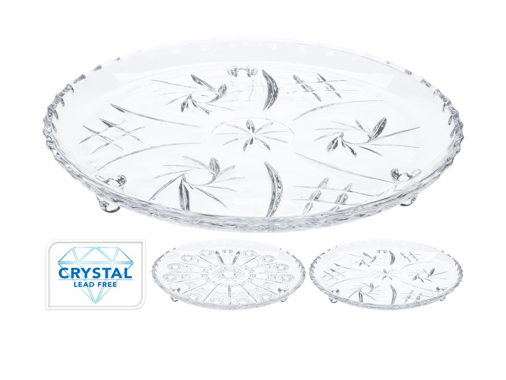 Κρυστάλλινη πιατέλα σερβίρισματος 30cm με ανάγλυφα σχέδια σε 2 διαφορετικά μοτίβ σερβίρισμα   δίσκοι  πιατέλες και ορντεβιέρες